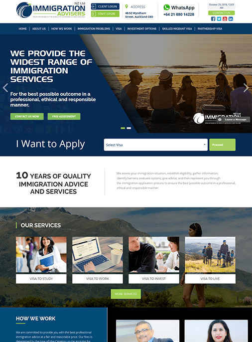 NZ Immigration - Web Design Adelaide