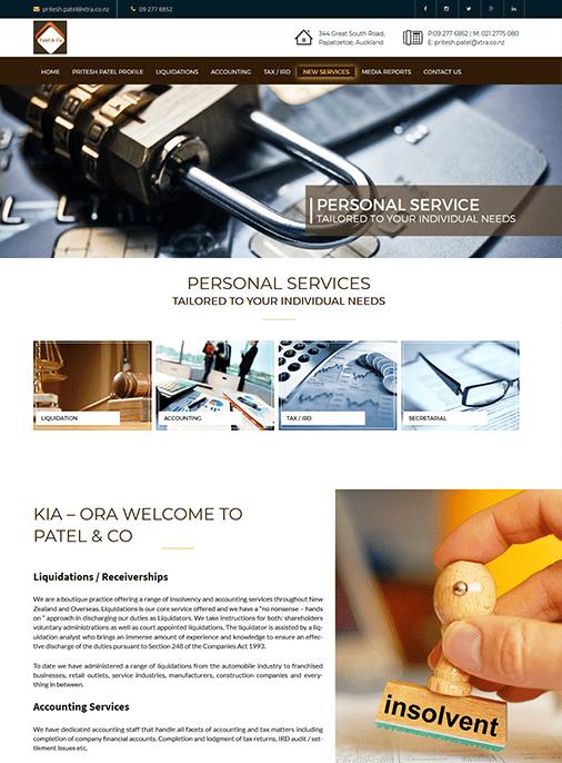 Patel and Co - Website Design