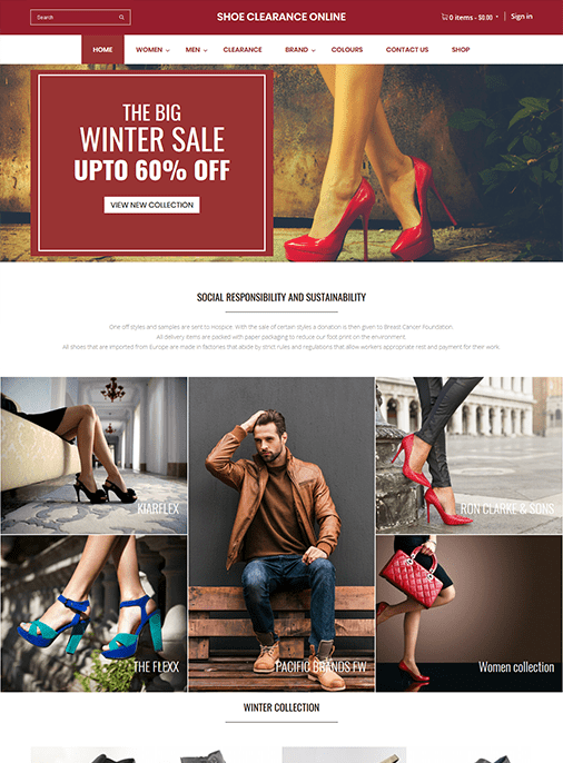 Shoe Clearance online - Website Design