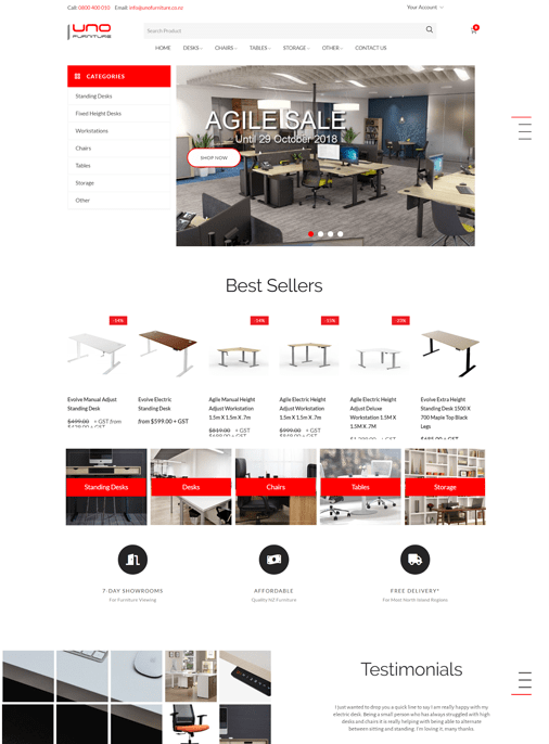 UNO Furniture - Web Design Adelaide